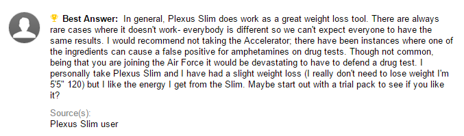 Plexus Slim feedback 2C