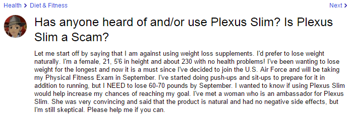 Plexus Slim user feedback B