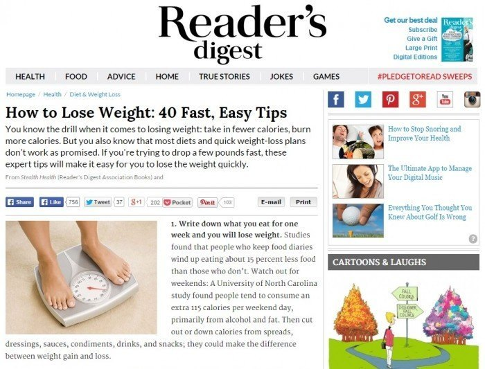 Readers Digest Image of Weight Loss Article
