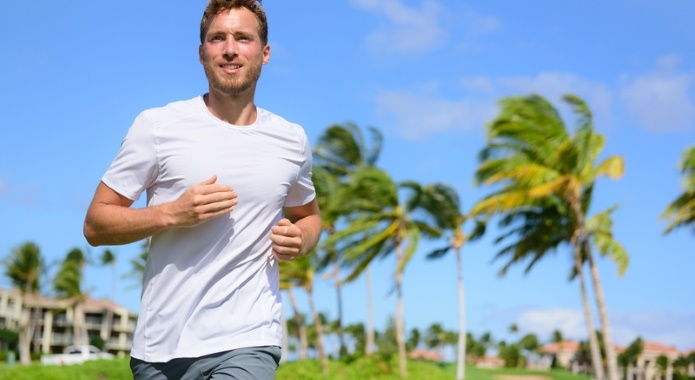 relaxed man jogging