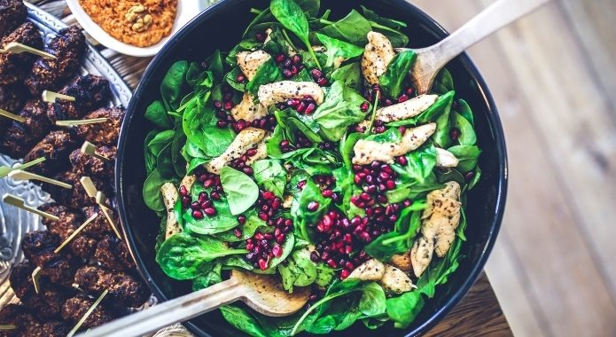 spinach with meat salad