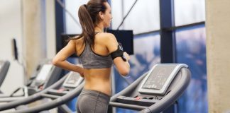 woman on treadclimber