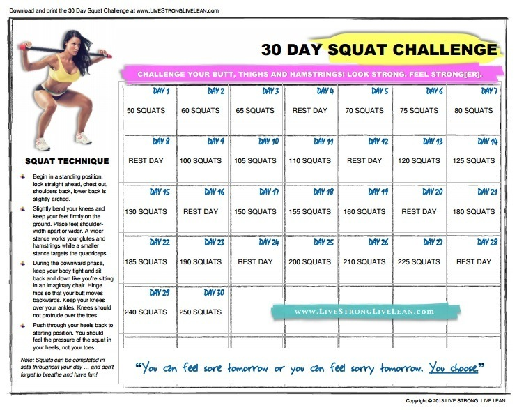 Unforgettable image regarding printable squat challenge