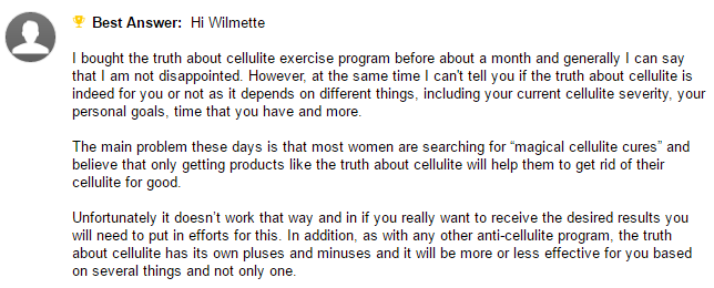 yahoo answers on truth about cellulite program