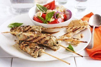 Pork Skewers With Caprese Salad