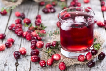 Cranberries on Table With Juice