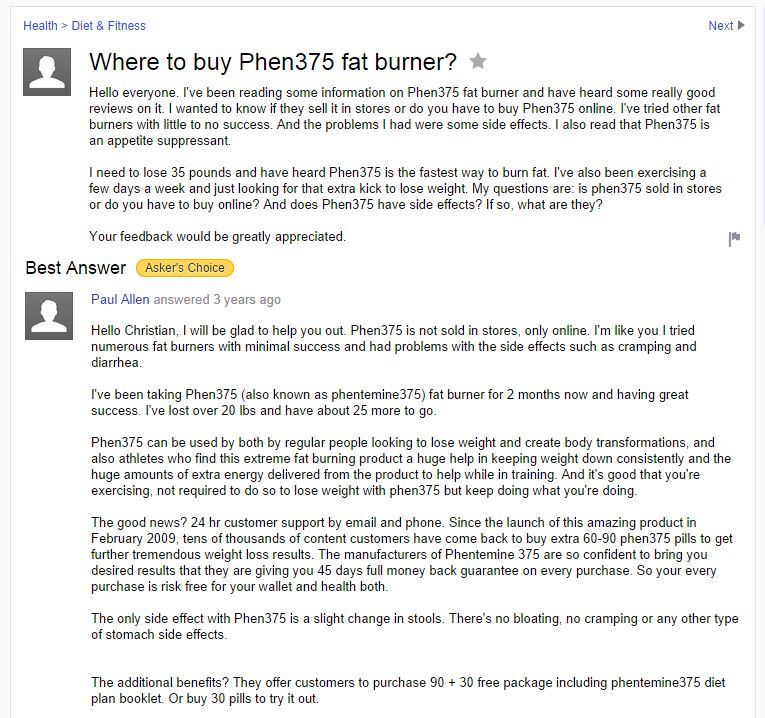 another yahoo answer thread on phentermine375