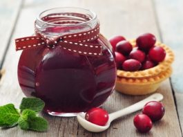 cranberry jam in glass jar