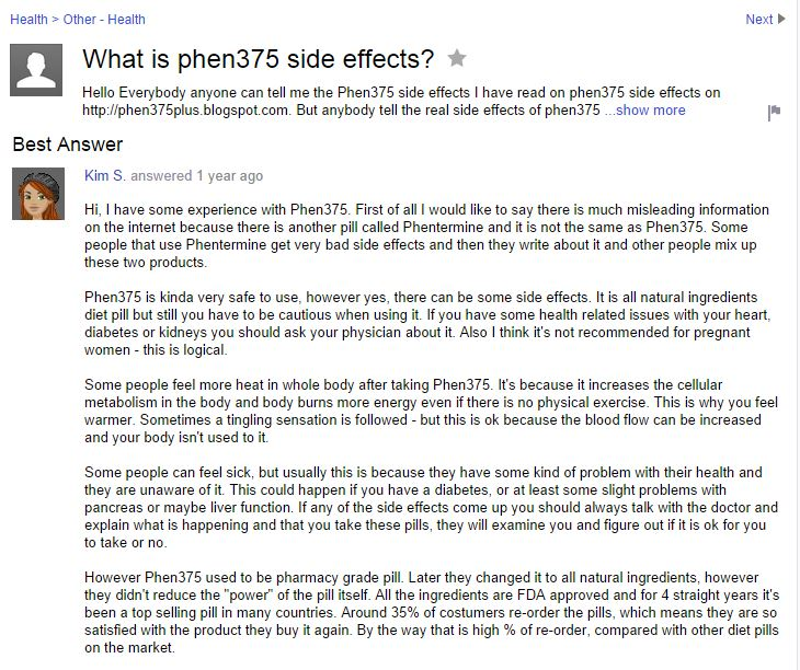 yahoo answers phen side effects