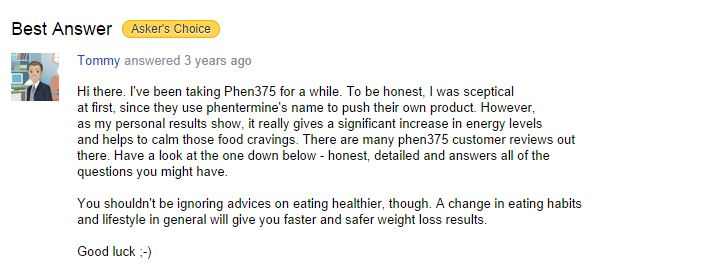 yahoo answers phen375 customer feedback