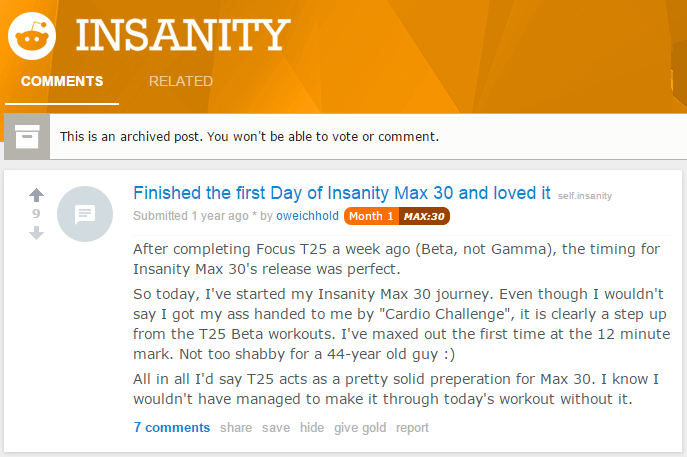 reddit thread on insanity max 30