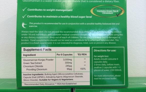 Glucomannan Plus ingredients label